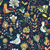 Seamless floral pattern with birds and flowers. Seamless flower and bird. Endless floral pattern. Full color floral background Royalty Free Stock Photo