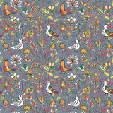 Seamless floral pattern with birds and flowers. Seamless flower and bird. Endless floral pattern. Full color floral background Royalty Free Stock Photos