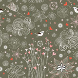 Seamless floral pattern with birds in love Royalty Free Stock Images
