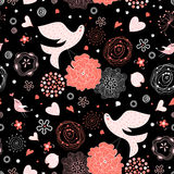 Seamless floral pattern with birds in love Stock Image
