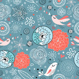 Seamless floral pattern with birds in love Royalty Free Stock Photos