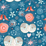 Seamless floral pattern with birds in love Royalty Free Stock Photography