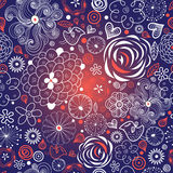 Seamless floral pattern with birds in love Stock Images