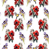 Seamless floral pattern with birds. Stock Images