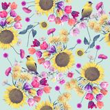 Seamless floral pattern with birds stock illustration