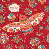 Seamless floral pattern with birds and text Miss you Royalty Free Stock Photo