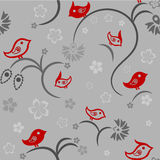 Seamless floral pattern with birds Royalty Free Stock Images