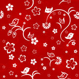 Seamless floral pattern with birds Royalty Free Stock Photos