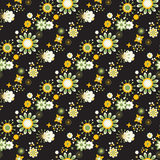 Seamless floral pattern at black background Stock Images