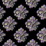 Seamless floral pattern at black background Royalty Free Stock Photos