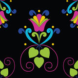 Seamless floral pattern on black background. royalty free illustration
