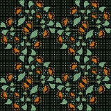 Seamless floral pattern on black background. Seamless abstract pattern with flowers in green ornament stylish texture on black background Stock Image