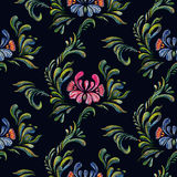 Seamless floral pattern on black background. Stock Images