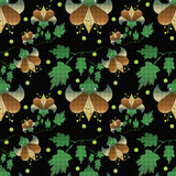 Seamless floral pattern on black background Stock Image