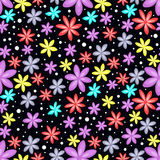 Seamless floral pattern on black background Stock Photography