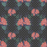 Seamless floral pattern on black dotted Stock Photos