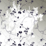 seamless floral pattern black silhouette Royalty Free Stock Photo