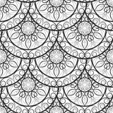 Seamless floral pattern. Black and white. Coloring book page. Royalty Free Stock Photo