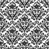 Seamless floral pattern. Black and white seamless damask wallpaper pattern Stock Photos