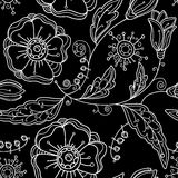 Seamless Floral Pattern. Black And White Graphics. Stock Photos