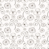 Seamless  floral pattern. Black and white  hand drawn background with different flowers and leaves. Stock Photo