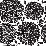 Seamless floral pattern black and white Stock Images