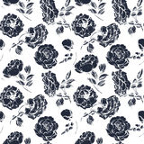 Seamless floral pattern with a blossoming branch of rose. Vector Royalty Free Stock Photos