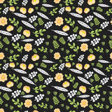 Seamless floral pattern with a blossoming rose,  leaves. Stock Photo