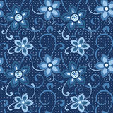Seamless floral pattern in blue Stock Photography