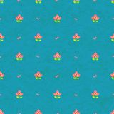 Seamless Floral Pattern on Blue Background Royalty Free Stock Image