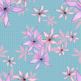 Seamless floral pattern on blue Royalty Free Stock Photography