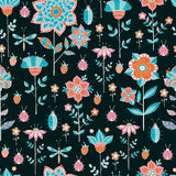 Seamless floral pattern on a blue background Royalty Free Stock Images