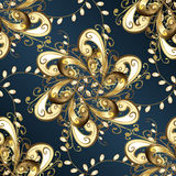 Seamless floral pattern. On blue background with radial shadows Royalty Free Stock Photos