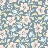 Seamless floral pattern on a blue background. Vector illustration. Royalty Free Stock Photos