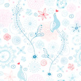Seamless floral pattern with blue bird lovers Royalty Free Stock Images
