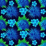 Seamless floral pattern with blue bright chrysanthemums and forget-me-nots royalty free illustration