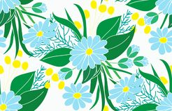 Seamless floral pattern, blue daisies with leaves on a white background.For cloth, wallpaper, wrapping paper, oilcloths. Vector EPS10 Stock Photo
