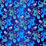 Seamless floral pattern with blue fantastic birds. Decorative or. Nament backdrop for fabric, textile, wrapping paper stock illustration