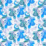 Seamless floral pattern with blue fantastic birds. Decorative or. Nament backdrop for fabric, textile, wrapping paper royalty free illustration