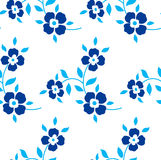 Seamless floral pattern. Blue flowers, leaves. Foliage on a white background Stock Photo