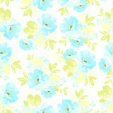 Seamless floral pattern with blue flowers Stock Photo