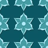 Seamless floral pattern. Blue green 3d designs. Vector illustration Royalty Free Illustration