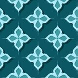 Seamless floral pattern. Blue green 3d designs. Vector illustration Stock Illustration