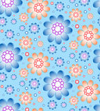 Seamless floral pattern in blue and orange colors Royalty Free Stock Photo