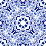 Seamless floral pattern. Blue ornament of berries and flowers in the style of Chinese painting on porcelain. Royalty Free Stock Photos