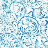 Seamless floral pattern. Blue painted in gzhel style with flowers and birds. Stylization Chinese porcelain ornament. Royalty Free Stock Photos