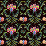 Seamless floral pattern with blue and pink flowers Stock Photography