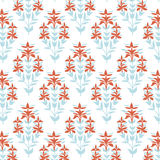 Seamless floral pattern. Blue and red damask flower background. Tile wrapping paper texture. Hand drawn vector Stock Image