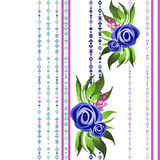 Seamless floral pattern with blue roses on white Stock Image