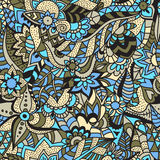 Seamless floral pattern. Blue, yellow and black colors. Drawing by hand. Doodle Royalty Free Stock Image